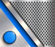 Tło kruszcowy z błękitnym guzikiem ilustracji