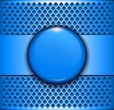 Tło kruszcowy z błękitnym guzikiem ilustracja wektor