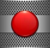 Tło kruszcowy z czerwonym guzikiem royalty ilustracja