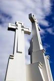 tło krzyżuje pomnikowego niebo trzy Zdjęcia Royalty Free