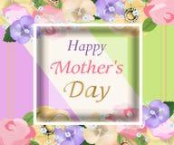 Tło matek dzień z pięknym kwiatu kartka z pozdrowieniami Projekt dla plakatów, sztandarów lub kart, wektor Obrazy Stock