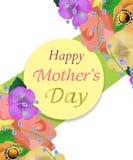 Tło matek dzień z pięknymi kwiatami i okręgu kartka z pozdrowieniami Projekt dla plakatów, sztandarów lub kart, wektor Zdjęcia Royalty Free