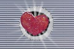 Tło, metal ściana z dziurą i czerwieni serce, royalty ilustracja
