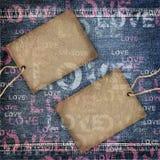 Tło miłości drelichowa tekstura Zdjęcia Stock