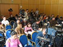 tło mikrofonów prasy konferencja odizolowane white zdjęcia royalty free