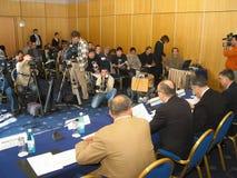 tło mikrofonów prasy konferencja odizolowane white obrazy royalty free