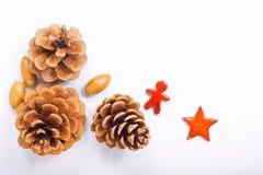 Tło nowego roku i bożych narodzeń pojęcia sosny dokrętki z ceramiczną dekoracją i rożki Zdjęcie Stock