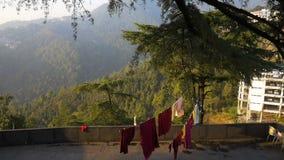 Tło o buddhism, modlitwa mleje w buddyjskim monasterze zdjęcie wideo