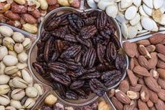 Tło od różnorodnych rodzajów dokrętki migdał, hazelnut, nerkodrzew, Brazylia dokrętka Zdjęcie Stock