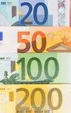 Tło od różnych euro banknotów zamknięty up Fotografia Stock