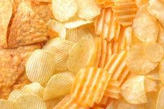 Tło od różnych układów scalonych w górę przekąski jedzenie niezdrowy zdjęcie royalty free