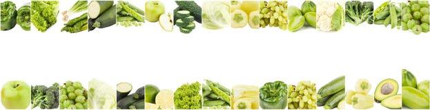 Tło od różnych zielonych warzyw i owoc odizolowywających na bielu, Zdjęcia Royalty Free