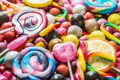 Tło od rozmaitości cukierki, lizaki, guma do żucia, candi obrazy royalty free