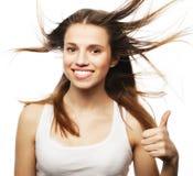 tło oddalonej muchy dziewczyny wielki włosy nad white, Obraz Royalty Free