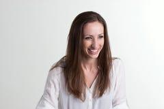 tło odizolowywająca uśmiechnięta biała kobieta Fotografia Stock