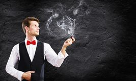 tło odizolowywający fajczany dymienia biel Obrazy Royalty Free