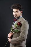 tło odizolowywający mężczyzna czerwieni róży biel fotografia royalty free