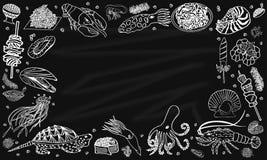 Tło owoce morza na blackboard wektor ilustracji