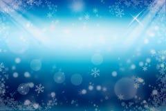 tło płatków śniegu biały niebieska zima Zdjęcia Stock