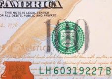 Tło pieniądze (zakończenie up dolarowy rachunek) Fotografia Royalty Free
