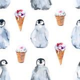 Tło pingwiny bezszwowy wzoru beak dekoracyjnego latającego ilustracyjnego wizerunek swój papierowa kawałka dymówki akwarela Zdjęcia Stock