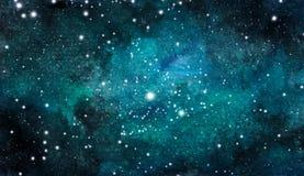 tło pozaziemski Kolorowy akwareli galaxy, nocne niebo z gwiazdami lub royalty ilustracja
