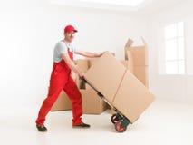 tło pracownik pudełkowaty doręczeniowy przystojny odosobniony nadmierny usługowy biały Zdjęcia Stock