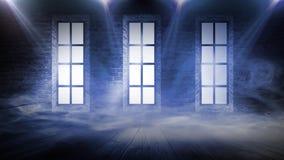 Tło pusty schody, ściana z cegieł, neonowy światło, promienie, dym ilustracja wektor