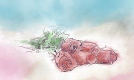 Tło, róże Obraz Stock