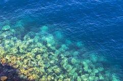 Tło robić jasna lazurowa woda morska zdjęcia stock