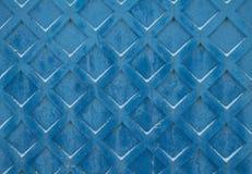 Tło rocznika błękit malował betonową ścianę z wzorem kwadraty Obrazy Royalty Free