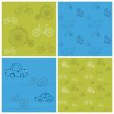 tło rowerów samochodów bezszwowy set Zdjęcia Royalty Free