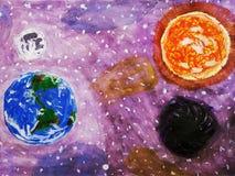Tło rozległość przestrzeń przycinanie ogniska ?cie?ki rt?ci ziemskiego uk?adu s?onecznego venus ilustracja wektor