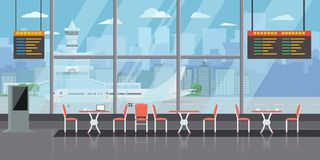 Tło sala przy lotniskiem z pustymi stolik do kawy i krzesłami Bryła i Płaski koloru styl projektujemy wektorową ilustrację royalty ilustracja