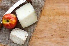 tło ser zawiera siatka ilustracyjnego wektor Gouda pesto kawałki na drewnianym stole Obraz Royalty Free