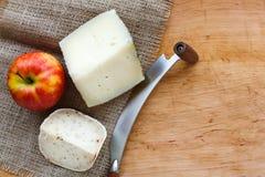 tło ser zawiera siatka ilustracyjnego wektor Gouda pesto kawałki na drewnianym stole Obraz Stock