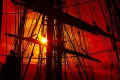 Tło - stary żeglowanie statku olinowanie Zdjęcia Stock