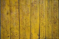 Tło stary kolor żółty malować drewniane deski obraz stock