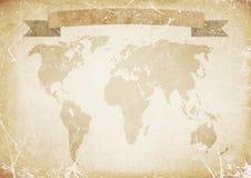 Tło stary papier z słowo mapą, sztandar ilustracja Obrazy Stock