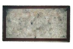 Tło stary podławy i brudny kruszcowy talerz malujący z lekką farbą z ramą Obrazy Stock