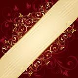 tło szablon kwiecisty złoty czerwony Zdjęcia Stock