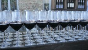 Tło szkła czerwony francuza i włocha wino od asortymentu gronowe rozmaitość zrobili przy wytwórnia win dla kosztować a zdjęcie stock