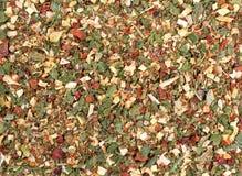 tło tekstury stara ceglana ściana Zielonej pikantności mieszanki wysuszeni warzywa i ziele fotografia stock