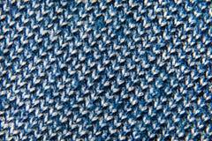 Tło tkaniny błękitny i biały zakończenia tkactwo Zdjęcia Stock