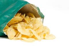 tło torba szczerbi się kartoflanego biel Fotografia Stock