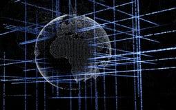 Tło trójwymiarowe fractal struktury, światła na linii i punkcie i komponował światową mapę, obrazy royalty free