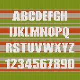 Tło trykotowa tekstura Angielski abecadło z liczbami Fotografia Royalty Free