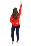 tło tylny ścinek tonie ręka wizerunek zawiera ścieżkę usuwa widok kobiety Podnosił jego pięść up w zwycięstwo znaku Obraz Stock