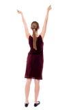 tło tylny ścinek tonie ręka wizerunek zawiera ścieżkę usuwa widok kobiety Podnosił jego pięść up w zwycięstwo znaku Obrazy Stock