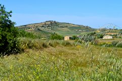 Tło Typowy Sycylijski wieś krajobraz, Mazzarino, Caltanissetta, Włochy, Europa Zdjęcia Royalty Free